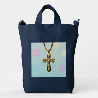 Ornate Gold Cross and Chain Duck Bag
