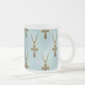 Ornate Gold Cross and Chain Frosted Glass Coffee Mug
