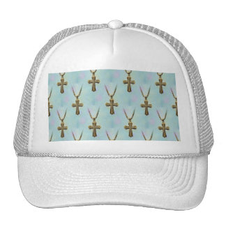 Ornate Gold Cross and Chain Trucker Hat