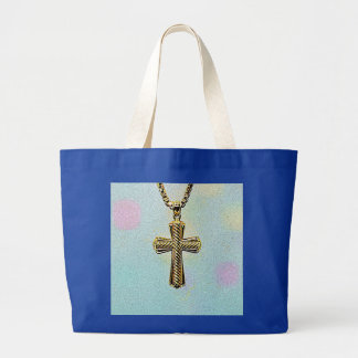 Ornate Gold Cross and Chain Large Tote Bag