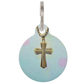 Ornate Gold Cross and Chain Pet Tag