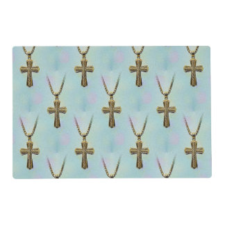 Ornate Gold Cross and Chain Placemat