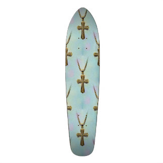 Ornate Gold Cross and Chain Skate Board Deck