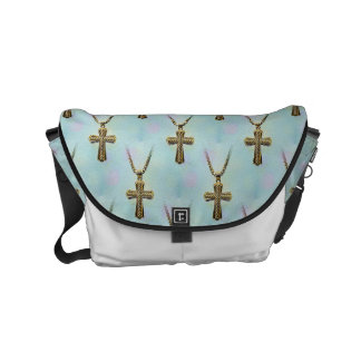 Ornate Gold Cross and Chain Small Messenger Bag