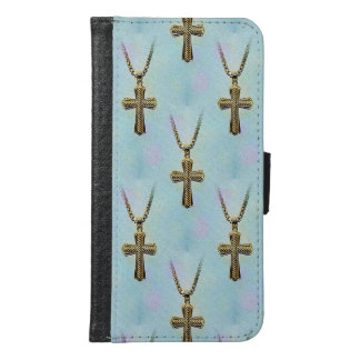 Ornate Gold Cross and Chain Wallet Phone Case For Samsung Galaxy S6