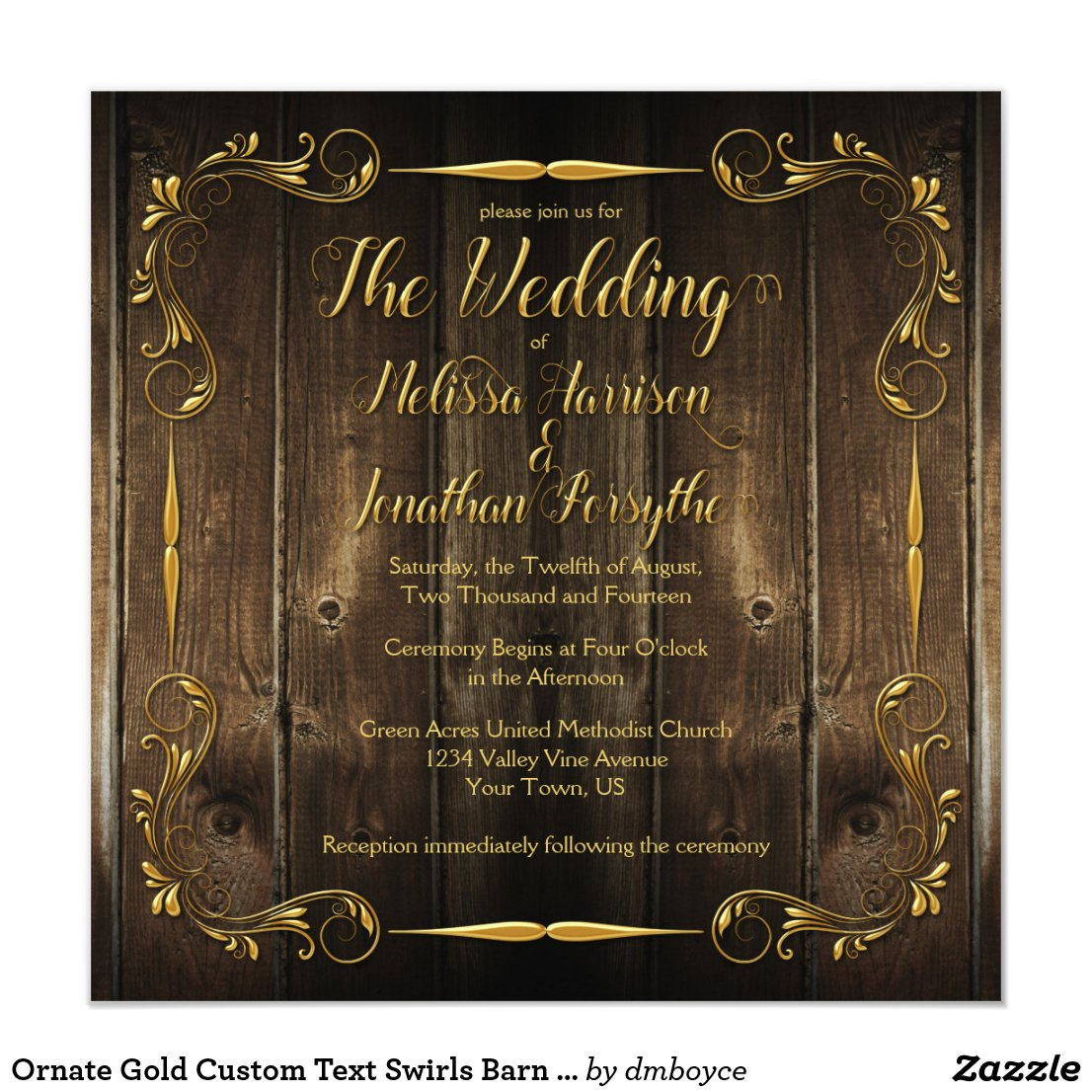 Ornate Gold Custom Text Swirls Barn Wood Wedding