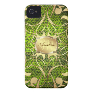 Ornate Gold Filigree Green Barely There Case