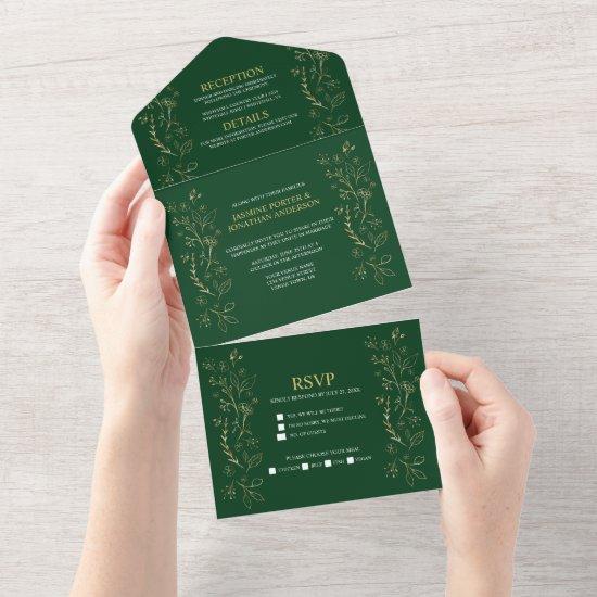Ornate Gold Floral Swirls on Dark Green Wedding   All In One Invitation