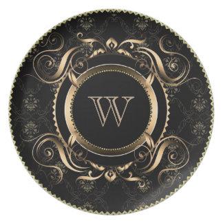 Ornate Gold Frame-Baroque Swirls-Custom Monogram Dinner Plate