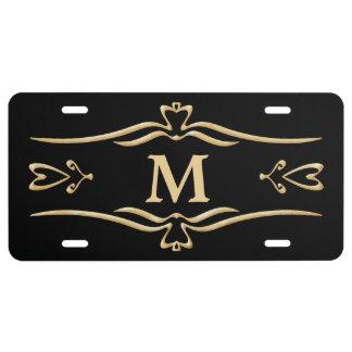 Ornate Gold Frame Monogram License Plate