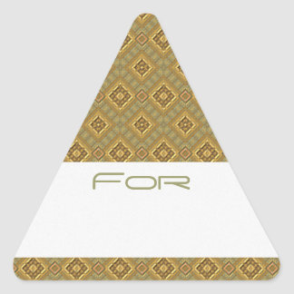 Ornate Gold & Green Diamonds Patterned Gift Tag