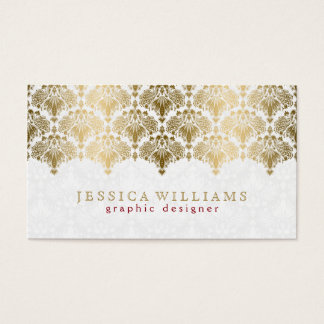 Ornate Gold Lace On Plush White Business Card