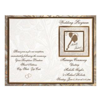 Ornate Gold & Loving Couple Wedding Program Flyer