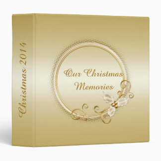 Ornate Gold on Gold Holly Berries Swirls Christmas Binder