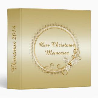 Ornate Gold on Gold Holly Berries Swirls Christmas Vinyl Binders