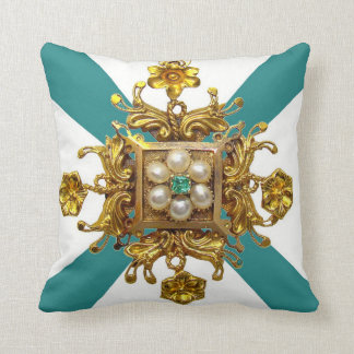 Ornate Gold Pearls Sofa Bling Jewelry Throw Pillow