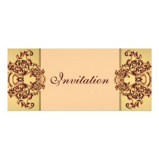 Ornate gold swirl classy yellow wedding invitation