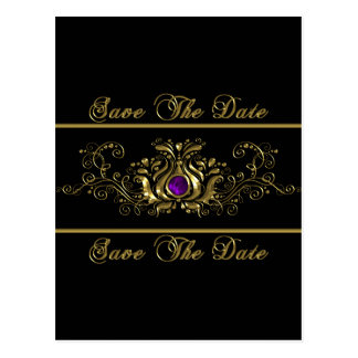 Ornate Gold Swirls Purple Jewel Save The Date Postcard