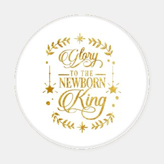 Ornate Gold Text Glory to the Newborn King Coaster Set