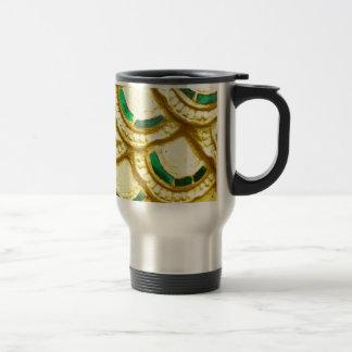 Ornate gold tiles from thai temple travel mug