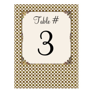 Ornate Gold Tone Lattice Wedding Table Number Card
