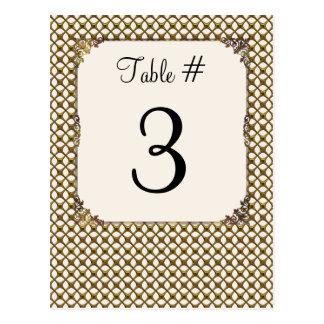 Ornate Gold Tone Lattice Wedding Table Number Card Postcard