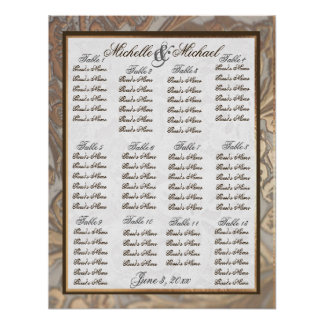 Ornate Gold Wedding Table Seating Chart  Version 2 Poster