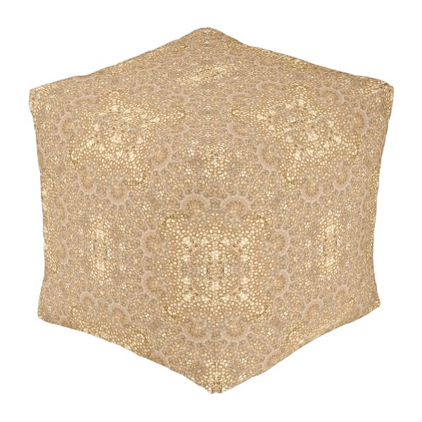 Ornate Golden Baroque Design Pouf
