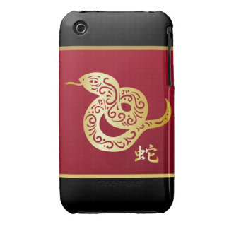 Ornate Golden Chinese Snake on Black and Red Case-Mate iPhone 3 Cases