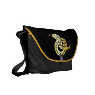 Ornate Golden Colored Chinese Snake Courier Bag