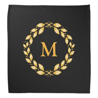 Ornate Golden Leaved Roman Wreath Monogram - Black Bandana
