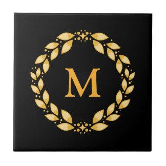 Ornate Golden Leaved Roman Wreath Monogram - Black Ceramic Tile