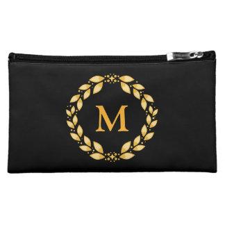 Ornate Golden Leaved Roman Wreath Monogram - Black Cosmetic Bag