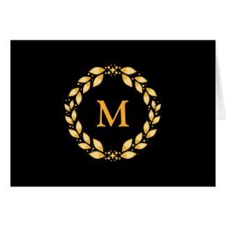 Ornate Golden Leaved Roman Wreath Monogram - Black Greeting Card