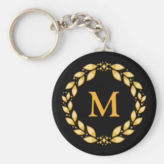 Ornate Golden Leaved Roman Wreath Monogram - Black Keychain