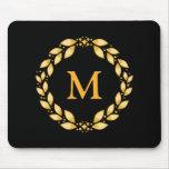 Ornate Golden Leaved Roman Wreath Monogram - Black Mouse Pad