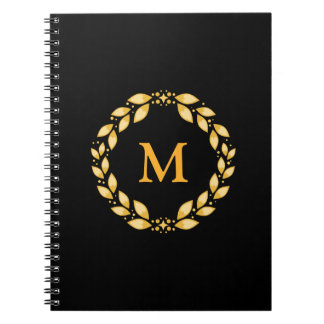 Ornate Golden Leaved Roman Wreath Monogram - Black Notebook