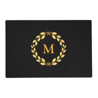 Ornate Golden Leaved Roman Wreath Monogram - Black Laminated Placemat