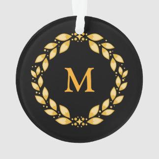 Ornate Golden Leaved Roman Wreath Monogram - Black Ornament