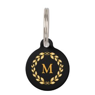 Ornate Golden Leaved Roman Wreath Monogram - Black Pet Name Tags