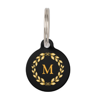 Ornate Golden Leaved Roman Wreath Monogram - Black Pet Tag