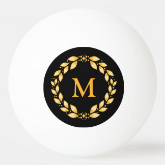Ornate Golden Leaved Roman Wreath Monogram - Black Ping Pong Ball