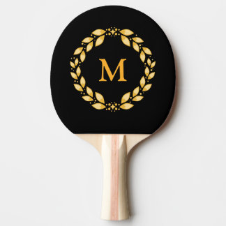 Ornate Golden Leaved Roman Wreath Monogram - Black Ping-Pong Paddle