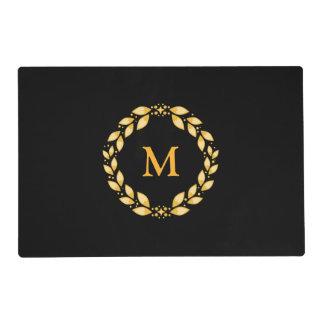 Ornate Golden Leaved Roman Wreath Monogram - Black Placemat