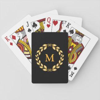 Ornate Golden Leaved Roman Wreath Monogram - Black Playing Cards