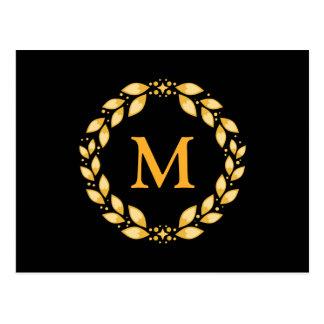 Ornate Golden Leaved Roman Wreath Monogram - Black Postcard