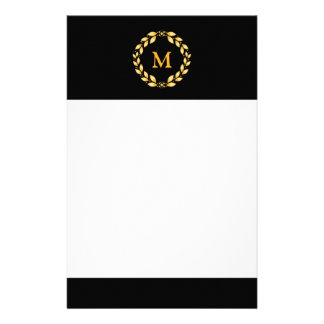 Ornate Golden Leaved Roman Wreath Monogram - Black Stationery