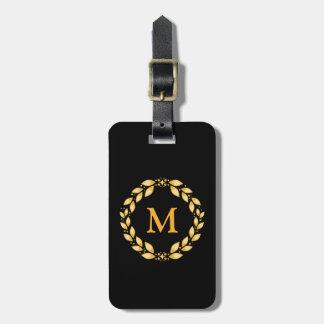 Ornate Golden Leaved Roman Wreath Monogram - Black Tags For Bags