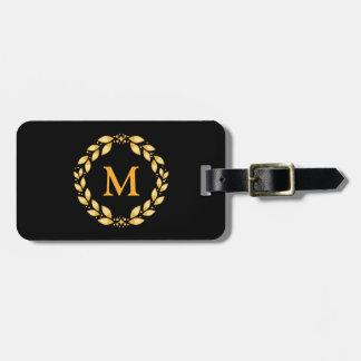 Ornate Golden Leaved Roman Wreath Monogram - Black Travel Bag Tag
