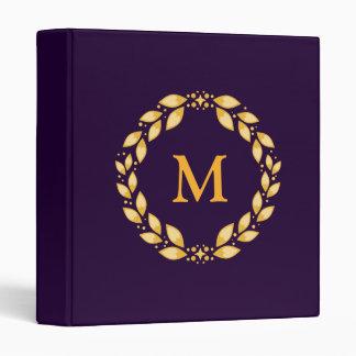 Ornate Golden Leaved Roman Wreath Monogram -Purple Binder